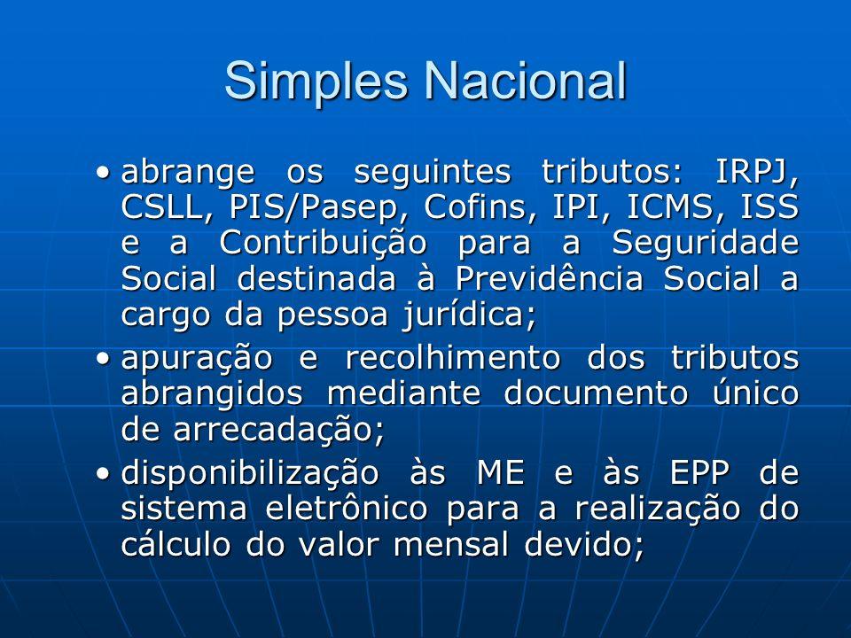 Simples Nacional abrange os seguintes tributos: IRPJ, CSLL, PIS/Pasep, Cofins, IPI, ICMS, ISS e a Contribuição para a Seguridade Social destinada à Pr