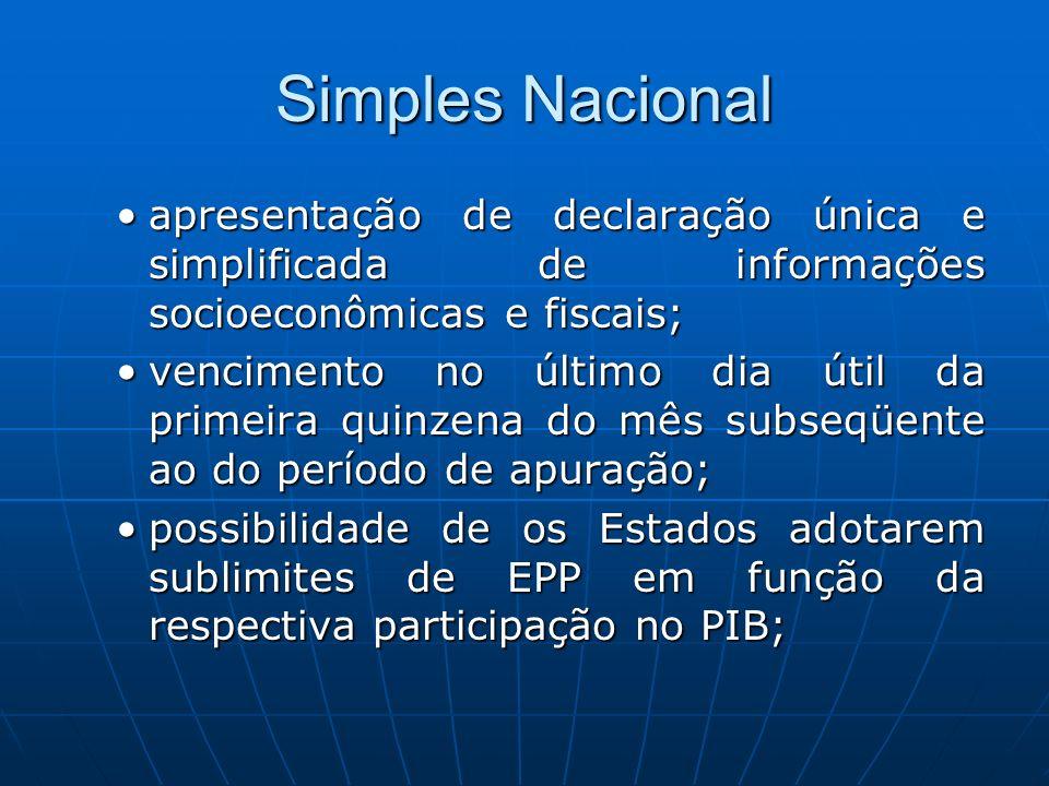 Simples Nacional apresentação de declaração única e simplificada de informações socioeconômicas e fiscais;apresentação de declaração única e simplific
