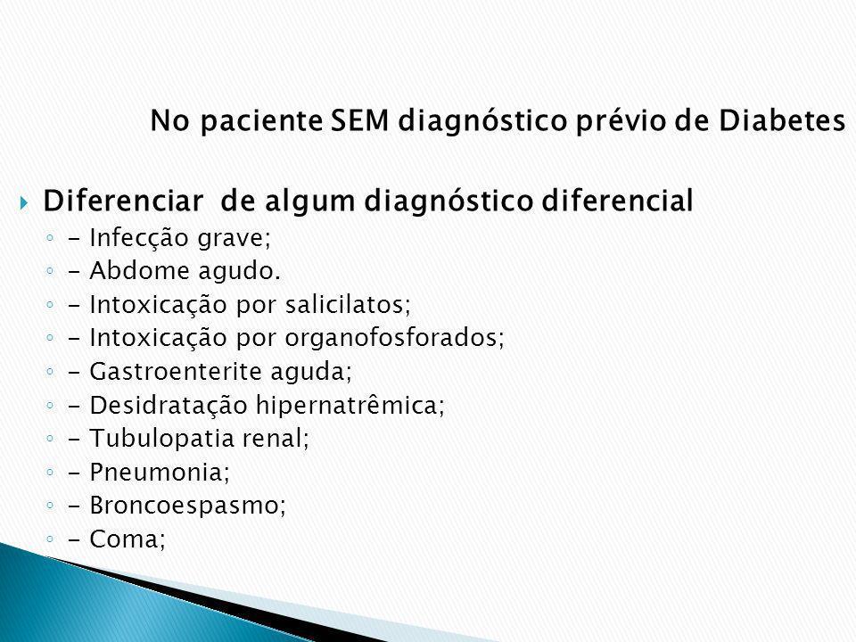 No paciente SEM diagnóstico prévio de Diabetes Diferenciar de algum diagnóstico diferencial - Infecção grave; - Abdome agudo. - Intoxicação por salici