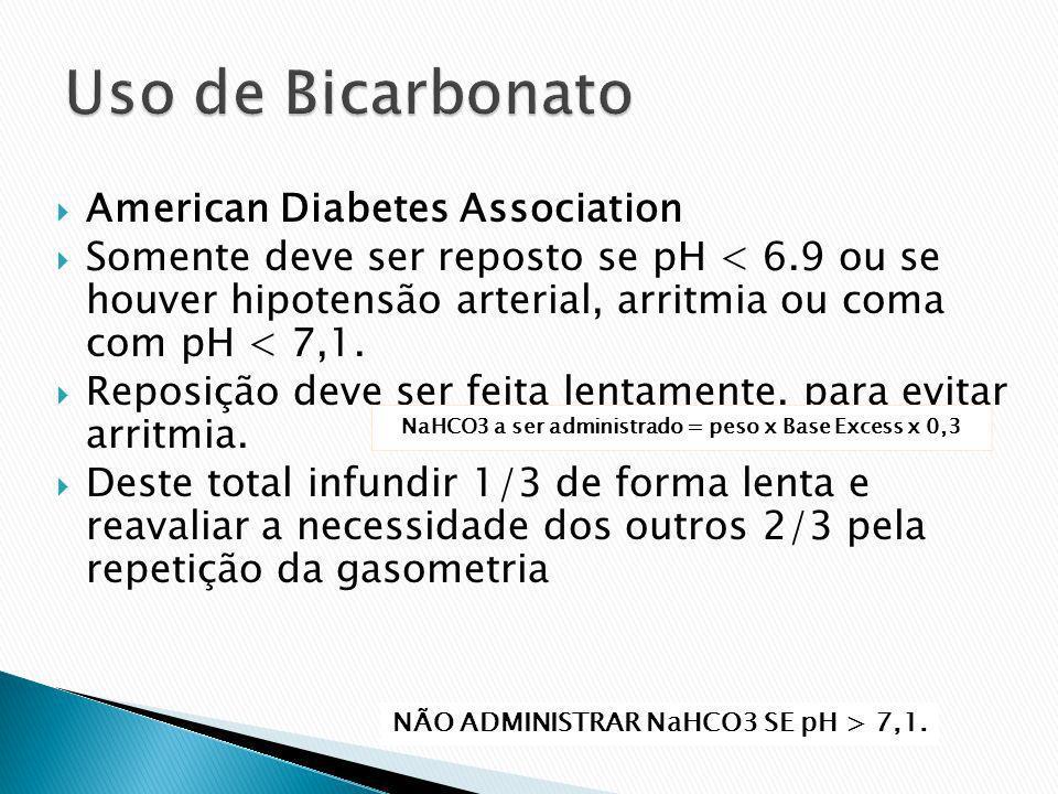 American Diabetes Association Somente deve ser reposto se pH < 6.9 ou se houver hipotensão arterial, arritmia ou coma com pH < 7,1. Reposição deve ser