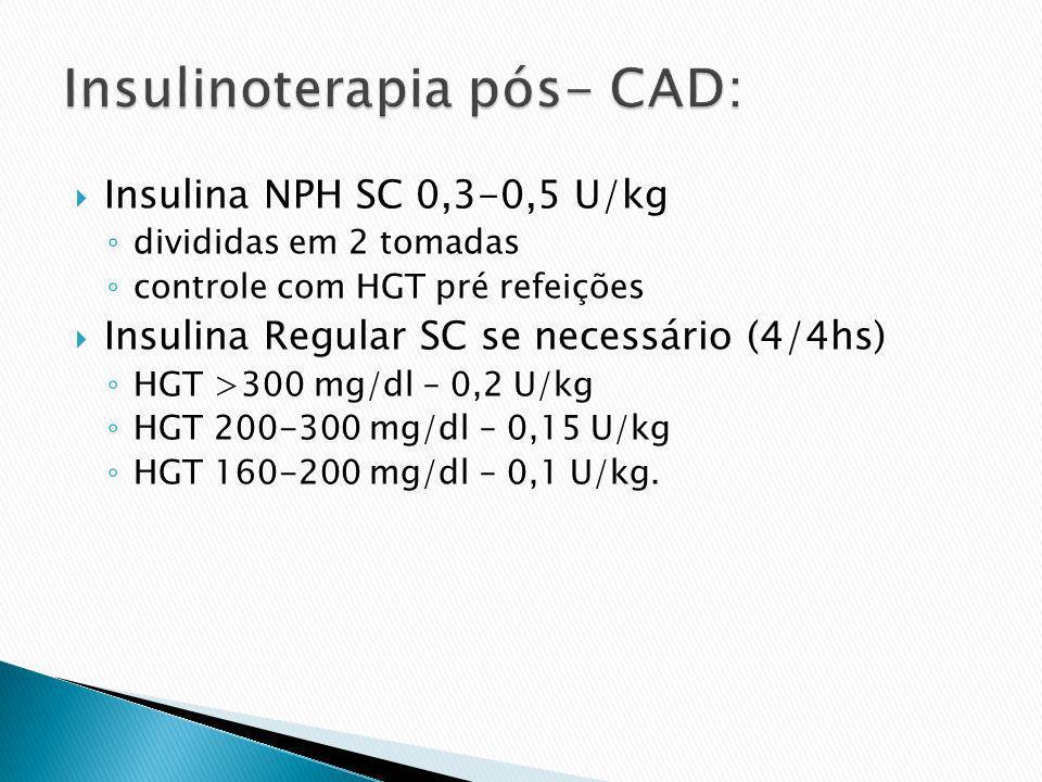 Insulina NPH SC 0,3-0,5 U/kg divididas em 2 tomadas controle com HGT pré refeições Insulina Regular SC se necessário (4/4hs) HGT >300 mg/dl – 0,2 U/kg
