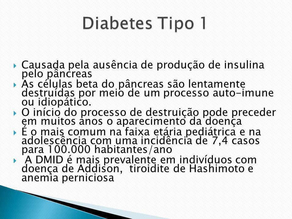 Causada pela ausência de produção de insulina pelo pâncreas As células beta do pâncreas são lentamente destruídas por meio de um processo auto-imune o