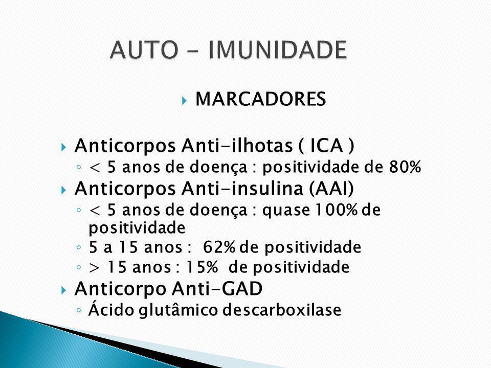 MARCADORES Anticorpos Anti-ilhotas ( ICA ) < 5 anos de doença : positividade de 80% Anticorpos Anti-insulina (AAI) < 5 anos de doença : quase 100% de