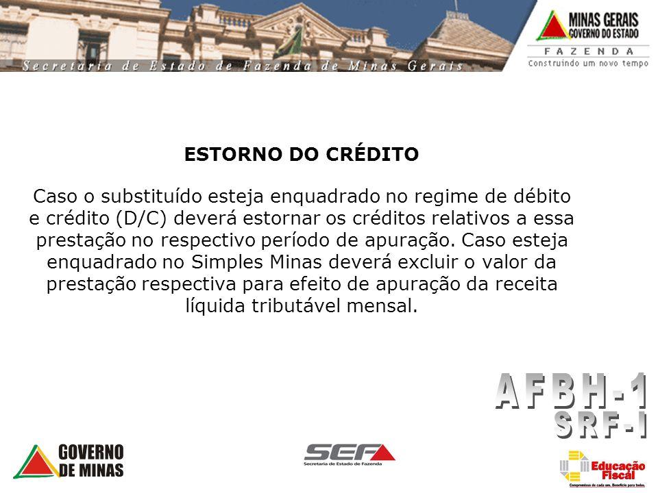 ESTORNO DO CRÉDITO Caso o substituído esteja enquadrado no regime de débito e crédito (D/C) deverá estornar os créditos relativos a essa prestação no