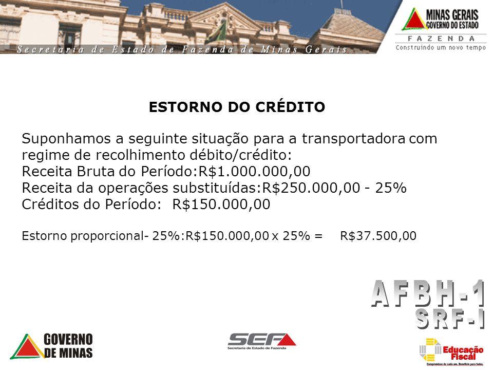 ESTORNO DO CRÉDITO Suponhamos a seguinte situação para a transportadora com regime de recolhimento débito/crédito: Receita Bruta do Período:R$1.000.00