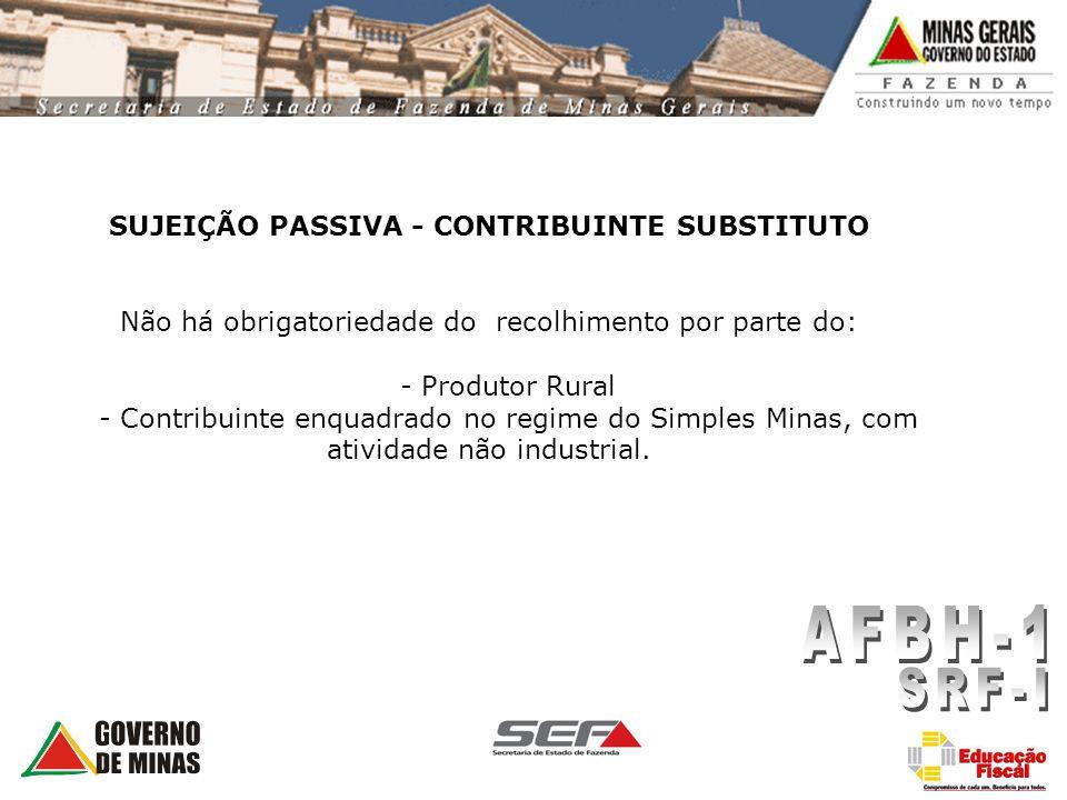 SUJEIÇÃO PASSIVA - CONTRIBUINTE SUBSTITUTO Não há obrigatoriedade do recolhimento por parte do: - Produtor Rural - Contribuinte enquadrado no regime d