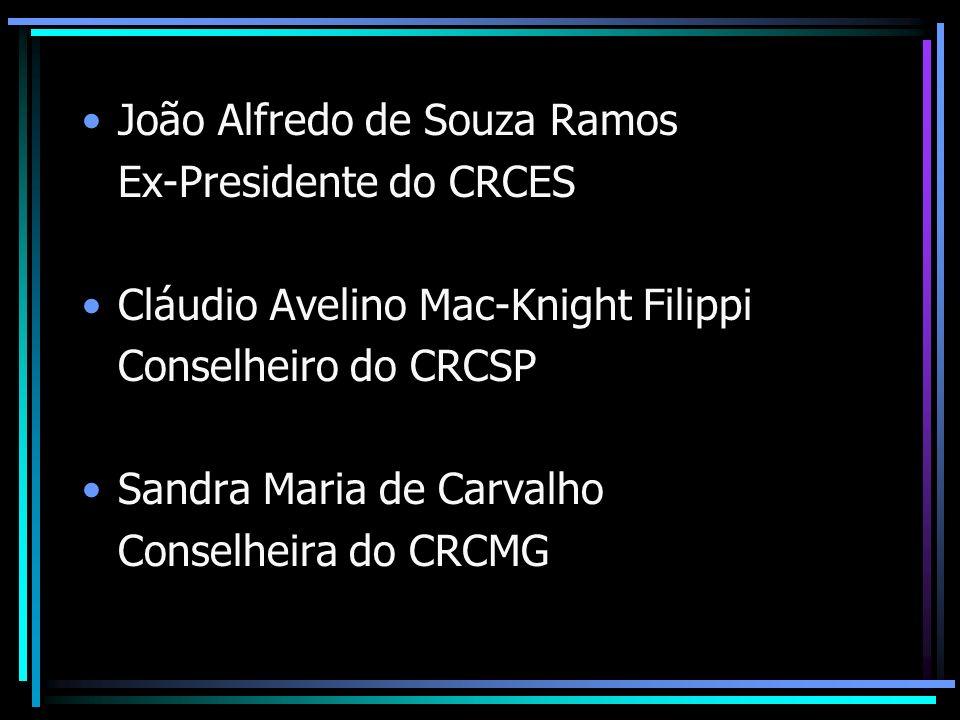 João Alfredo de Souza Ramos Ex-Presidente do CRCES Cláudio Avelino Mac-Knight Filippi Conselheiro do CRCSP Sandra Maria de Carvalho Conselheira do CRC