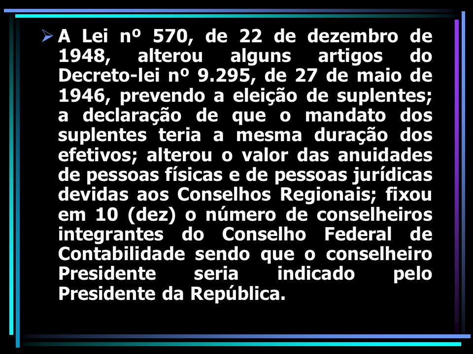 A Lei nº 570, de 22 de dezembro de 1948, alterou alguns artigos do Decreto-lei nº 9.295, de 27 de maio de 1946, prevendo a eleição de suplentes; a dec