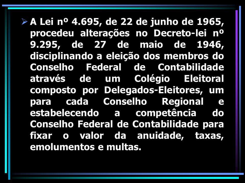 A Lei nº 4.695, de 22 de junho de 1965, procedeu alterações no Decreto-lei nº 9.295, de 27 de maio de 1946, disciplinando a eleição dos membros do Con