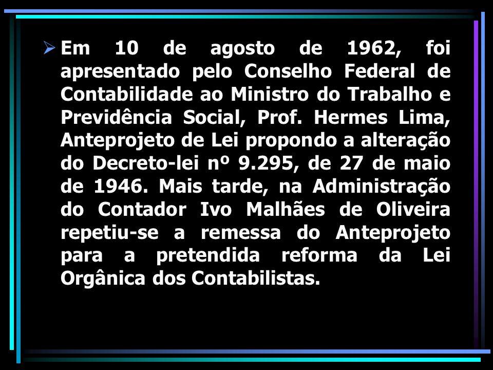 Em 10 de agosto de 1962, foi apresentado pelo Conselho Federal de Contabilidade ao Ministro do Trabalho e Previdência Social, Prof. Hermes Lima, Antep