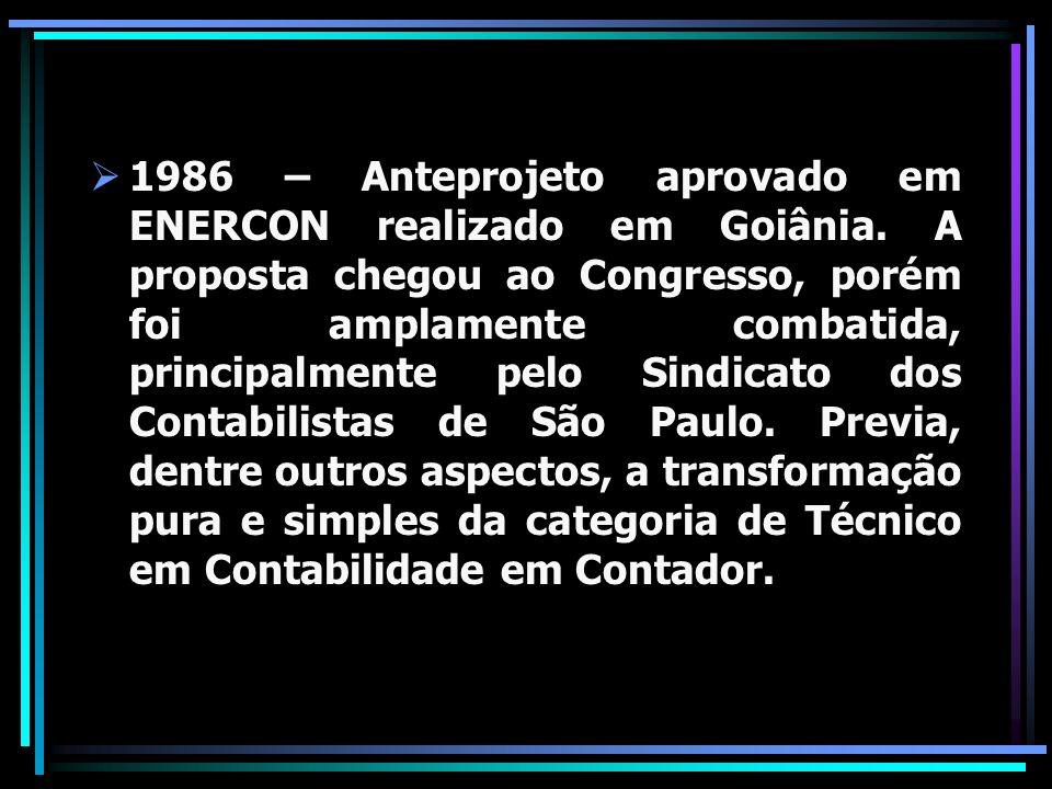 1986 – Anteprojeto aprovado em ENERCON realizado em Goiânia. A proposta chegou ao Congresso, porém foi amplamente combatida, principalmente pelo Sindi