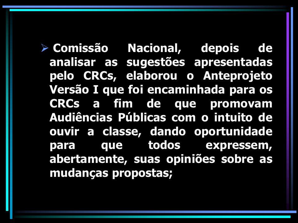 Comissão Nacional, depois de analisar as sugestões apresentadas pelo CRCs, elaborou o Anteprojeto Versão I que foi encaminhada para os CRCs a fim de q