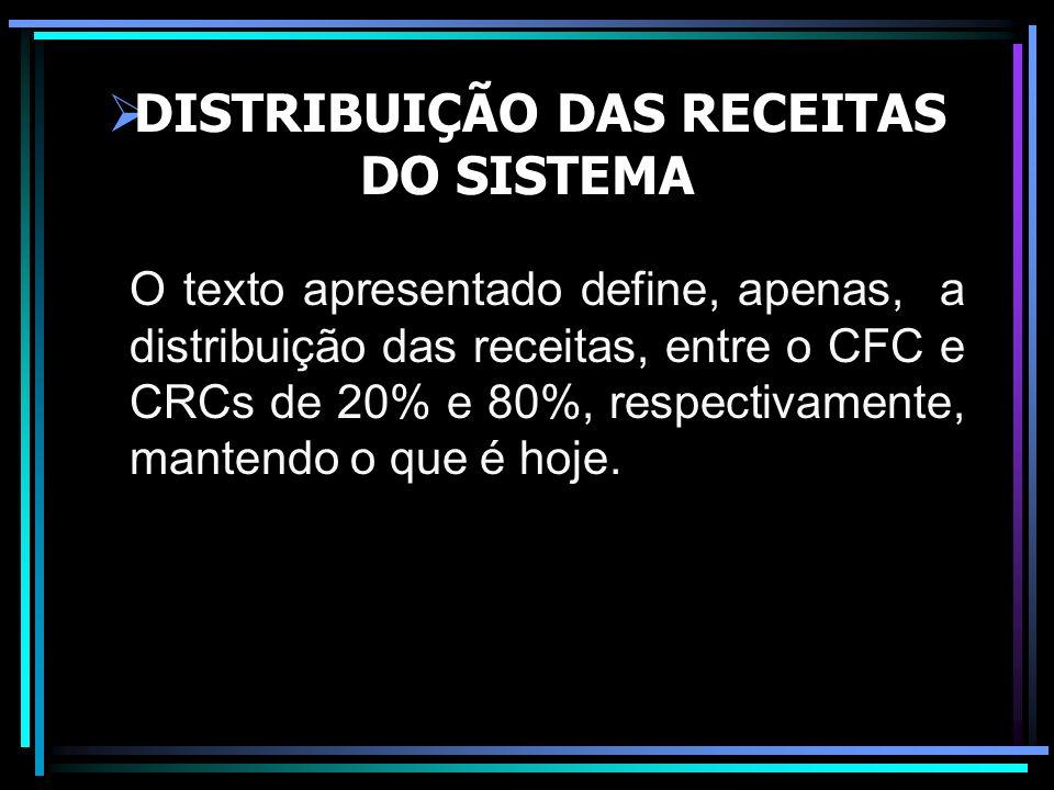 DISTRIBUIÇÃO DAS RECEITAS DO SISTEMA O texto apresentado define, apenas, a distribuição das receitas, entre o CFC e CRCs de 20% e 80%, respectivamente