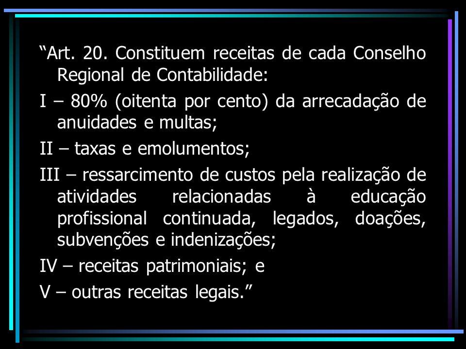Art. 20. Constituem receitas de cada Conselho Regional de Contabilidade: I – 80% (oitenta por cento) da arrecadação de anuidades e multas; II – taxas
