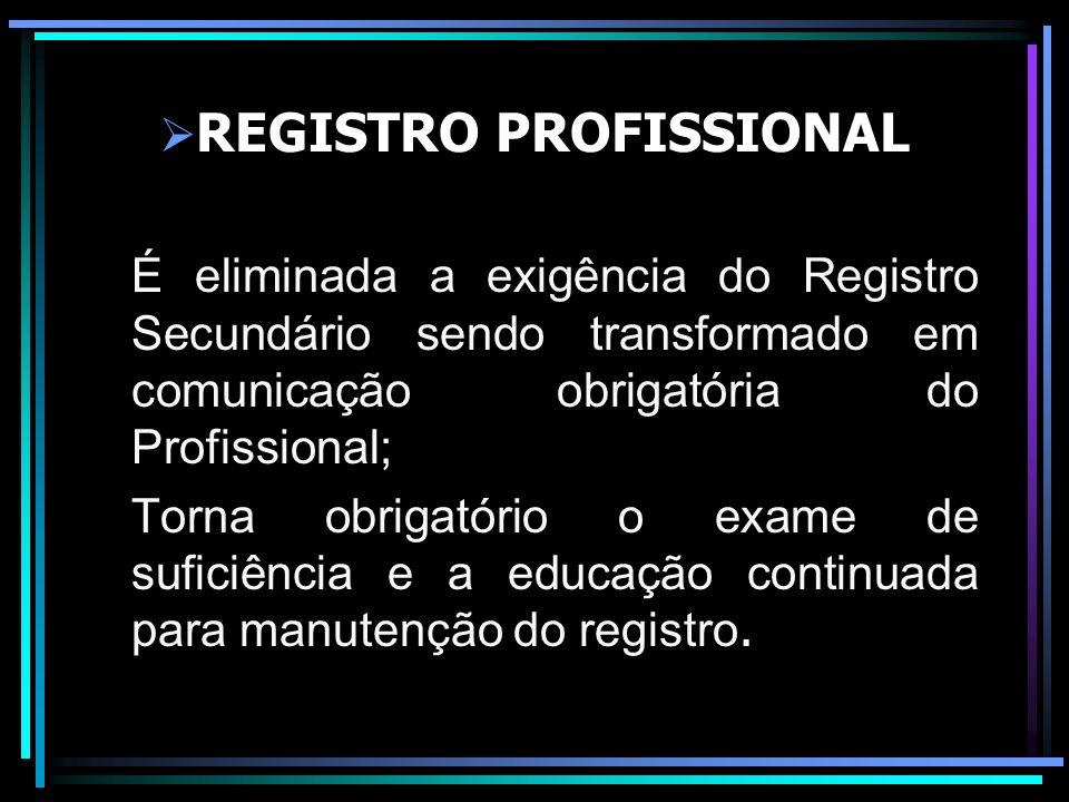 REGISTRO PROFISSIONAL É eliminada a exigência do Registro Secundário sendo transformado em comunicação obrigatória do Profissional; Torna obrigatório