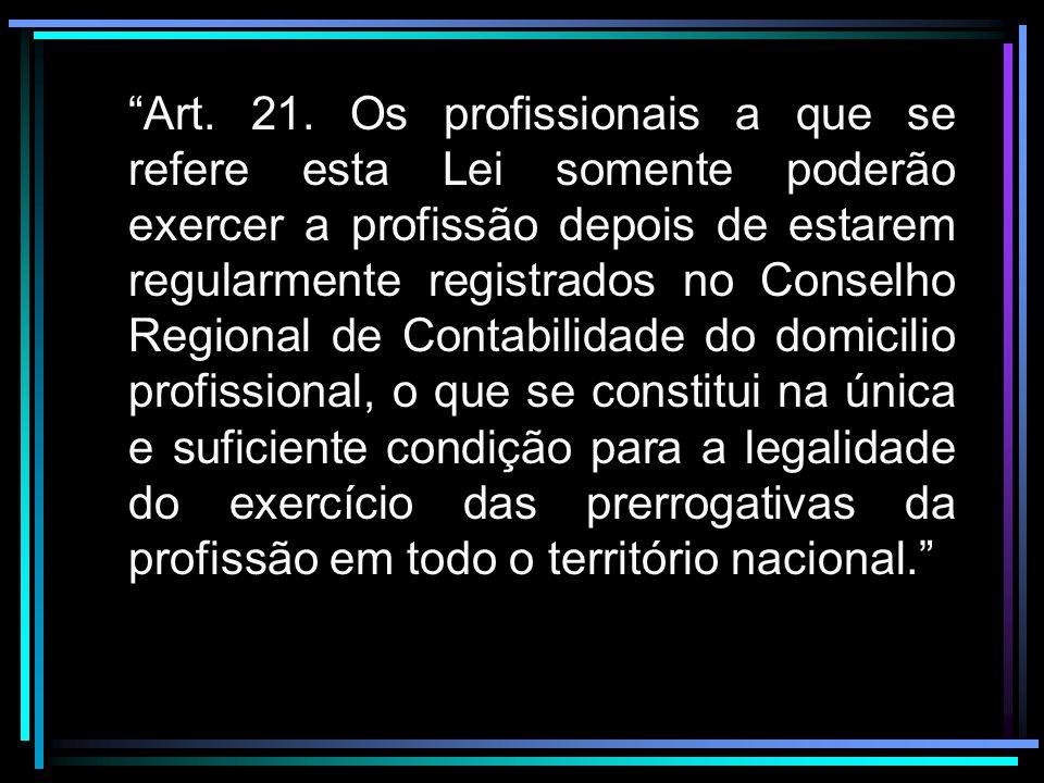 Art. 21. Os profissionais a que se refere esta Lei somente poderão exercer a profissão depois de estarem regularmente registrados no Conselho Regional