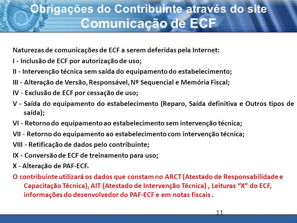PLONE - 2007 Obrigações do Contribuinte através do site Comunicação de ECF Naturezas de comunicações de ECF a serem deferidas pela Internet: I - Inclu