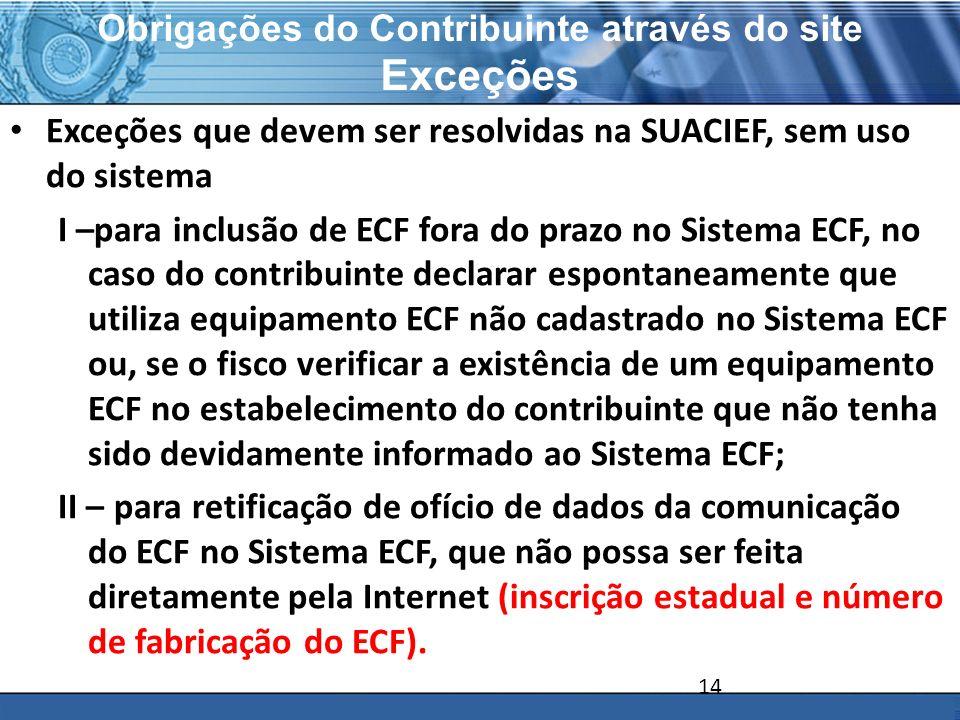 PLONE - 2007 Obrigações do Contribuinte através do site Exceções Exceções que devem ser resolvidas na SUACIEF, sem uso do sistema I –para inclusão de