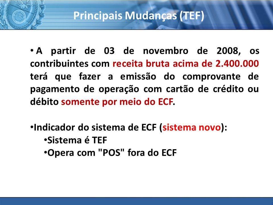 PLONE - 2007 Principais Mudanças (TEF) A partir de 03 de novembro de 2008, os contribuintes com receita bruta acima de 2.400.000 terá que fazer a emis