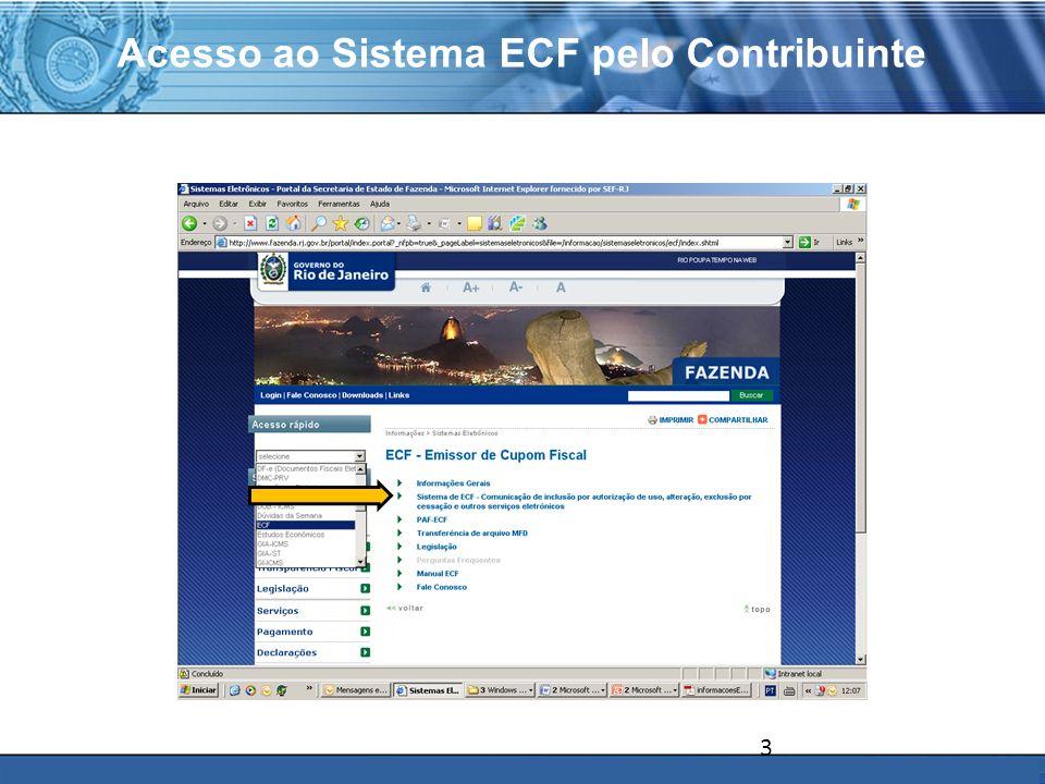 PLONE - 2007 Obrigações do Contribuinte através do site Exceções Exceções que devem ser resolvidas na SUACIEF, sem uso do sistema I –para inclusão de ECF fora do prazo no Sistema ECF, no caso do contribuinte declarar espontaneamente que utiliza equipamento ECF não cadastrado no Sistema ECF ou, se o fisco verificar a existência de um equipamento ECF no estabelecimento do contribuinte que não tenha sido devidamente informado ao Sistema ECF; II – para retificação de ofício de dados da comunicação do ECF no Sistema ECF, que não possa ser feita diretamente pela Internet (inscrição estadual e número de fabricação do ECF).