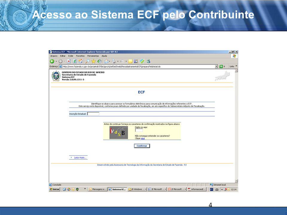 PLONE - 2007 Principais Conceitos Acesso ao Sistema de ECF pelo Contribuinte Número do Protocolo Senha de acesso ao sistema por estabelecimento do contribuinte – Inscrição Estadual.