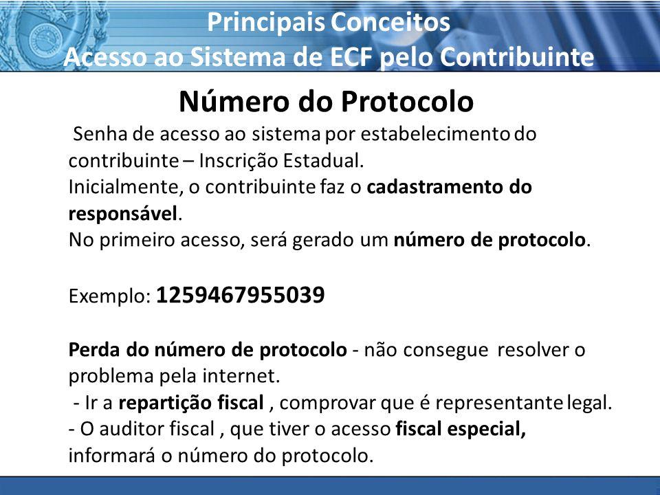 PLONE - 2007 Principais Conceitos Acesso ao Sistema de ECF pelo Contribuinte Número do Protocolo Senha de acesso ao sistema por estabelecimento do con