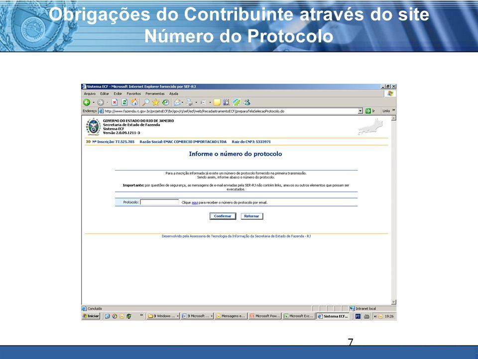 PLONE - 2007 Obrigações do Contribuinte através do site Número do Protocolo 7