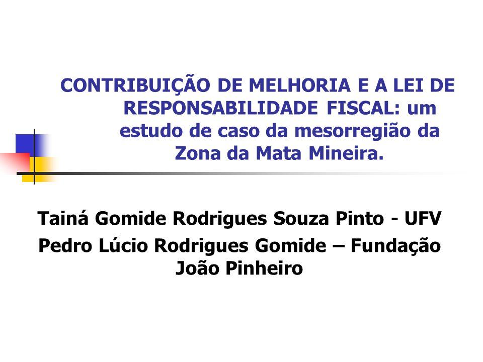 CONTRIBUIÇÃO DE MELHORIA E A LEI DE RESPONSABILIDADE FISCAL: um estudo de caso da mesorregião da Zona da Mata Mineira. Tainá Gomide Rodrigues Souza Pi