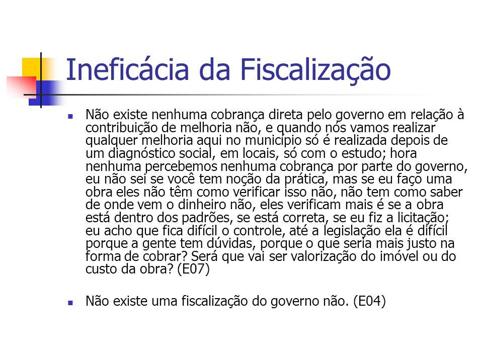 Ineficácia da Fiscalização Não existe nenhuma cobrança direta pelo governo em relação à contribuição de melhoria não, e quando nós vamos realizar qual