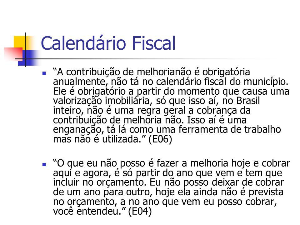 Calendário Fiscal A contribuição de melhorianão é obrigatória anualmente, não tá no calendário fiscal do município. Ele é obrigatório a partir do mome
