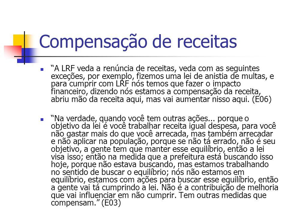 Compensação de receitas A LRF veda a renúncia de receitas, veda com as seguintes exceções, por exemplo, fizemos uma lei de anistia de multas, e para c