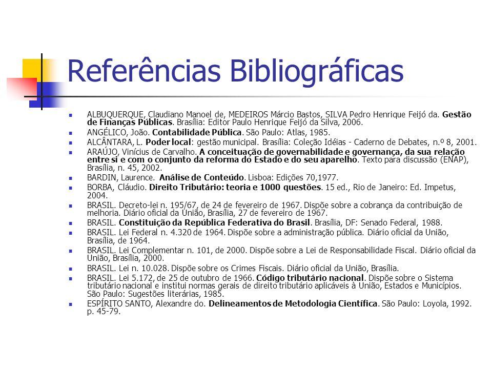 Referências Bibliográficas ALBUQUERQUE, Claudiano Manoel de, MEDEIROS Márcio Bastos, SILVA Pedro Henrique Feijó da. Gestão de Finanças Públicas. Brasí
