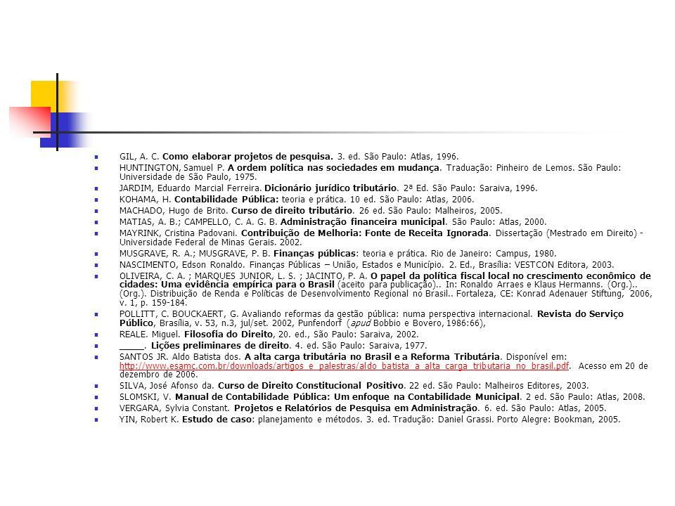 GIL, A. C. Como elaborar projetos de pesquisa. 3. ed. São Paulo: Atlas, 1996. HUNTINGTON, Samuel P. A ordem política nas sociedades em mudança. Tradua