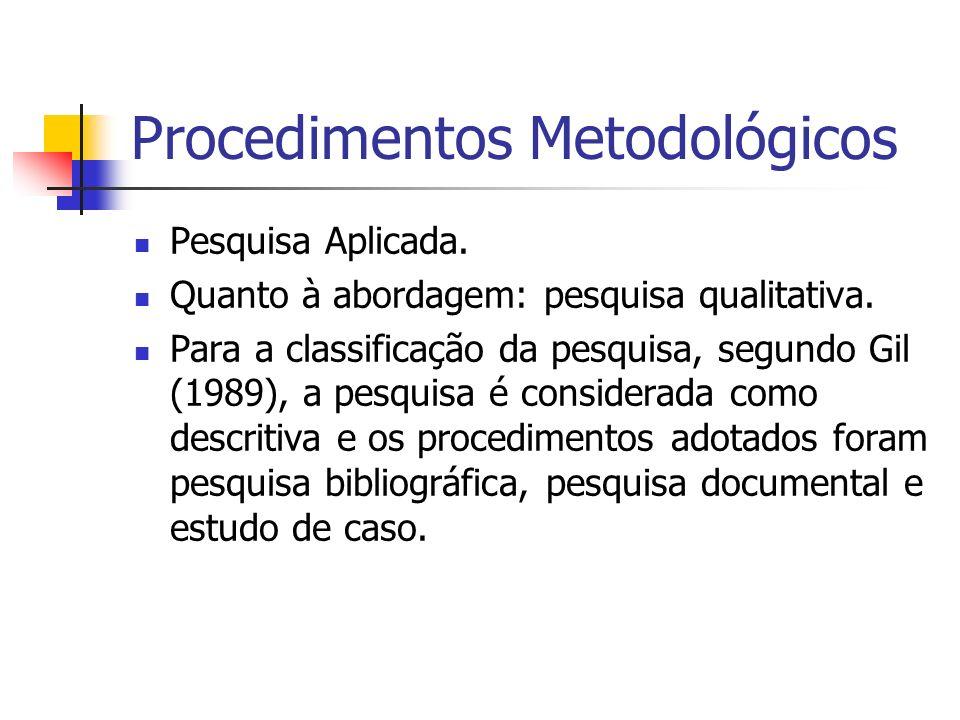 Procedimentos Metodológicos Pesquisa Aplicada. Quanto à abordagem: pesquisa qualitativa. Para a classificação da pesquisa, segundo Gil (1989), a pesqu