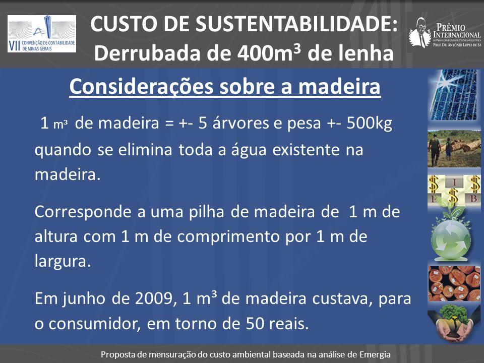 Proposta de mensuração do custo ambiental baseada na análise de Emergia % de Sustentabilidade Considerando o valor médio do metro cúbico de madeira, estamos nos referindo ao montante: (400m³ x R$ 50,00) que totaliza R$ 20.000,00 Custo ambiental em emergia para produção de 400m3 = US$ 4.532 => R$ 7.704,00 (out/09) % Sustentabilidade = 38,52% CUSTO DE SUSTENTABILIDADE: Derrubada de 400m 3 de lenha