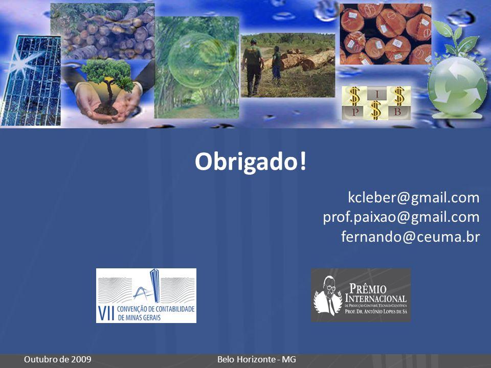 Obrigado! Belo Horizonte - MGOutubro de 2009 kcleber@gmail.com prof.paixao@gmail.com fernando@ceuma.br