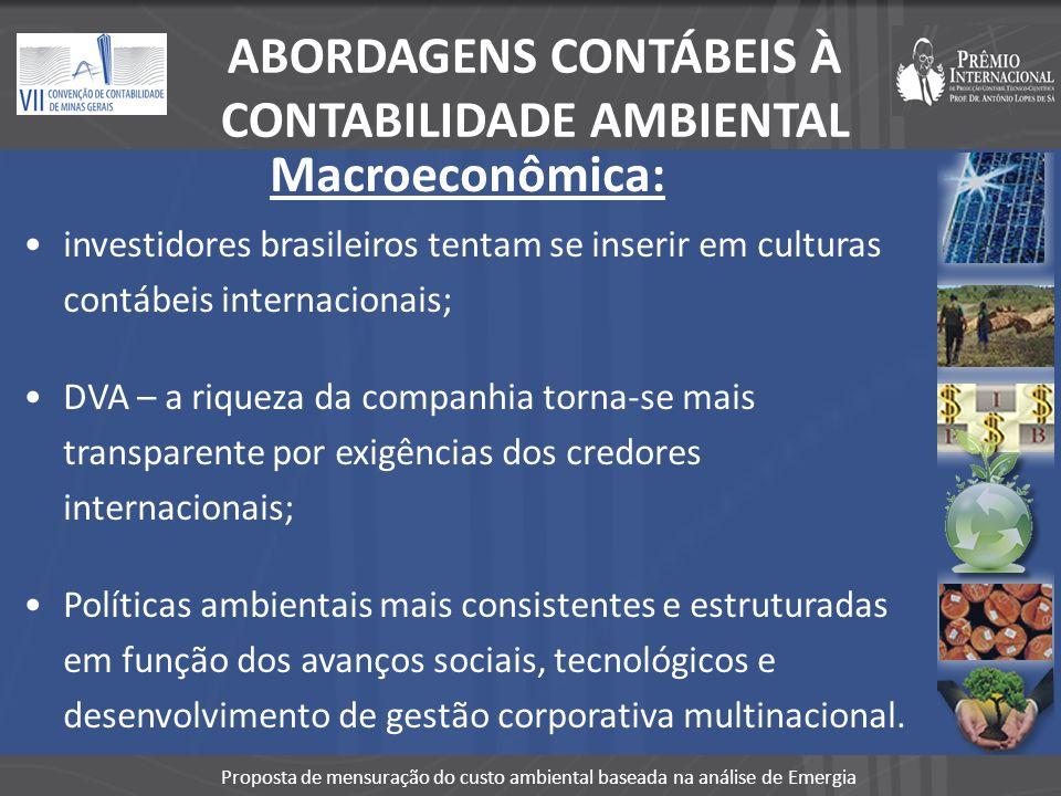 Proposta de mensuração do custo ambiental baseada na análise de Emergia Macroeconômica: investidores brasileiros tentam se inserir em culturas contábe