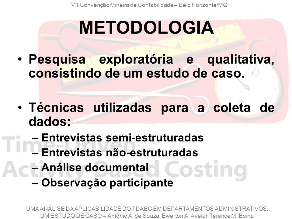 VII Convenção Mineira de Contabilidade – Belo Horizonte/MG UMA ANÁLISE DA APLICABILIDADE DO TDABC EM DEPARTAMENTOS ADMINISTRATIVOS: UM ESTUDO DE CASO