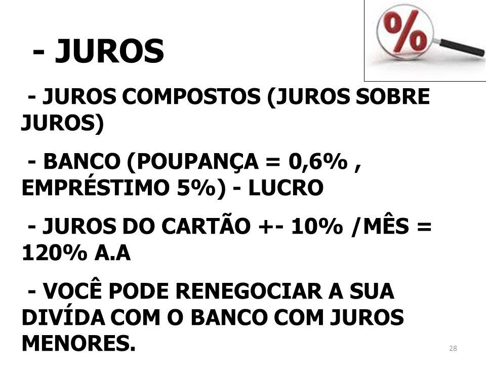 - JUROS - JUROS COMPOSTOS (JUROS SOBRE JUROS) - BANCO (POUPANÇA = 0,6%, EMPRÉSTIMO 5%) - LUCRO - JUROS DO CARTÃO +- 10% /MÊS = 120% A.A - VOCÊ PODE RE