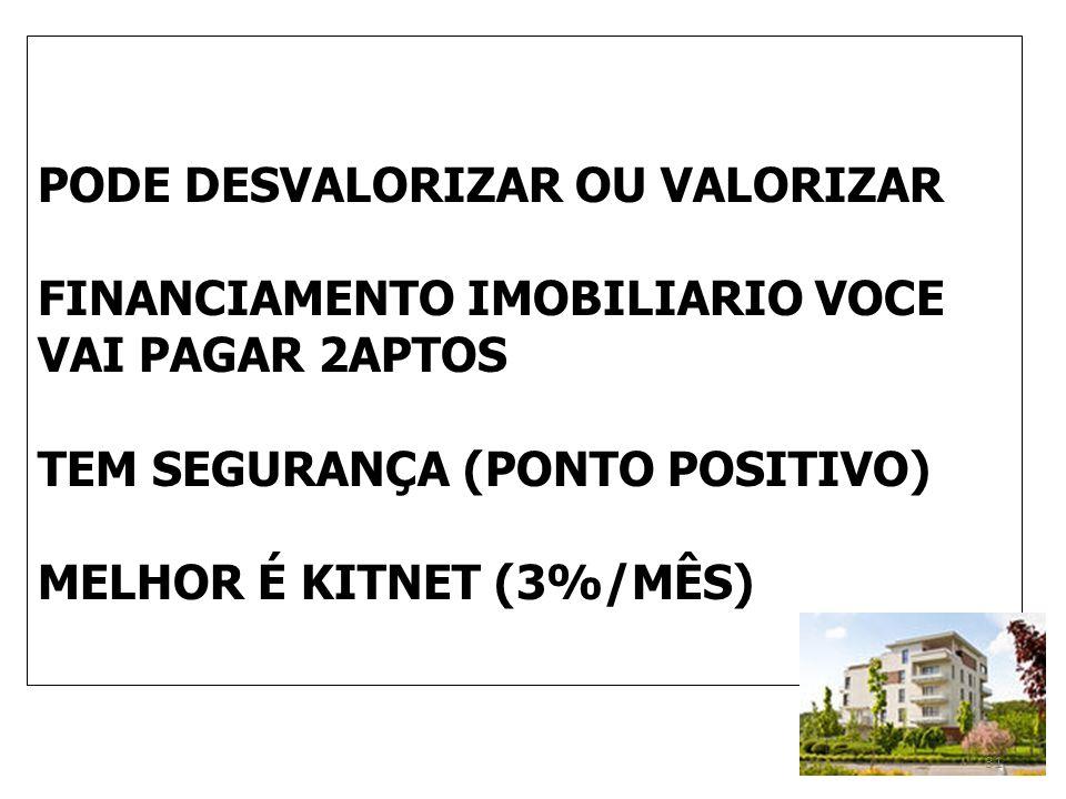 PODE DESVALORIZAR OU VALORIZAR FINANCIAMENTO IMOBILIARIO VOCE VAI PAGAR 2APTOS TEM SEGURANÇA (PONTO POSITIVO) MELHOR É KITNET (3%/MÊS) 31