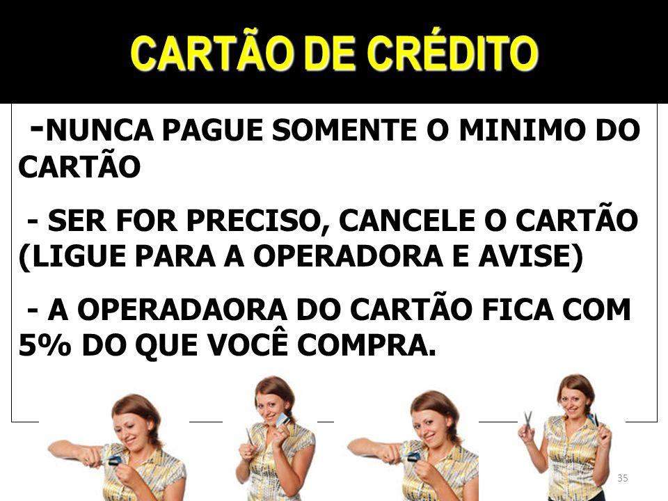CARTÃO DE CRÉDITO - NUNCA PAGUE SOMENTE O MINIMO DO CARTÃO - SER FOR PRECISO, CANCELE O CARTÃO (LIGUE PARA A OPERADORA E AVISE) - A OPERADAORA DO CART