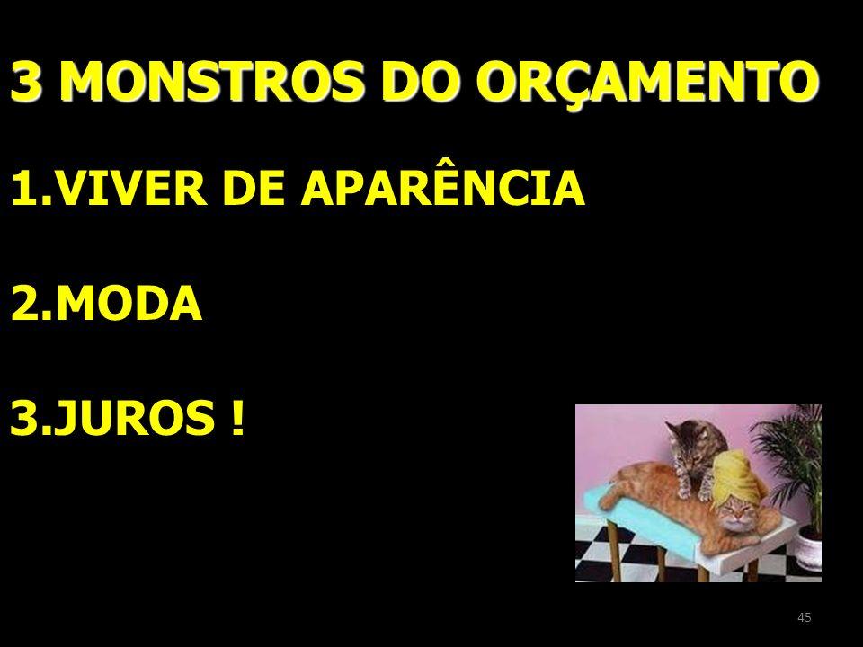 ORÇAMENTO 3 MONSTROS DO ORÇAMENTO 1.VIVER DE APARÊNCIA 2.MODA 3.JUROS ! 45