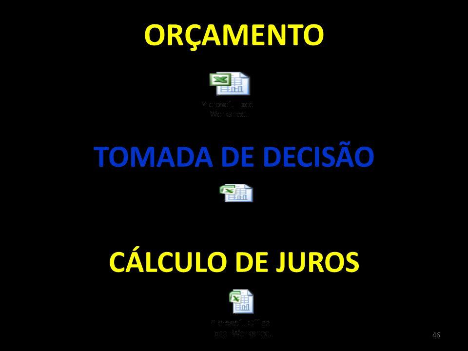 ORÇAMENTO TOMADA DE DECISÃO 46 CÁLCULO DE JUROS