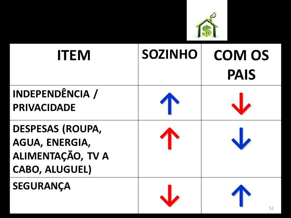 ITEM SOZINHO COM OS PAIS INDEPENDÊNCIA / PRIVACIDADE DESPESAS (ROUPA, AGUA, ENERGIA, ALIMENTAÇÃO, TV A CABO, ALUGUEL) SEGURANÇA 52