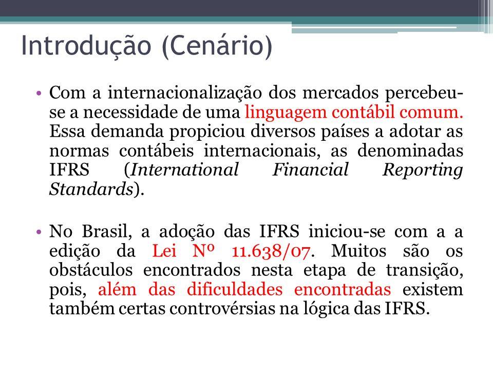 Introdução (Cenário) Com a internacionalização dos mercados percebeu- se a necessidade de uma linguagem contábil comum. Essa demanda propiciou diverso