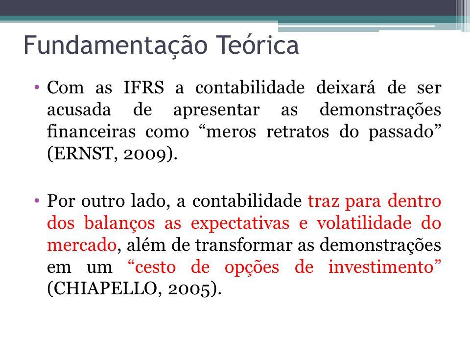 Fundamentação Teórica Com as IFRS a contabilidade deixará de ser acusada de apresentar as demonstrações financeiras como meros retratos do passado (ER