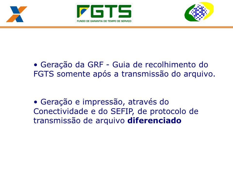Geração da GRF - Guia de recolhimento do FGTS somente após a transmissão do arquivo.