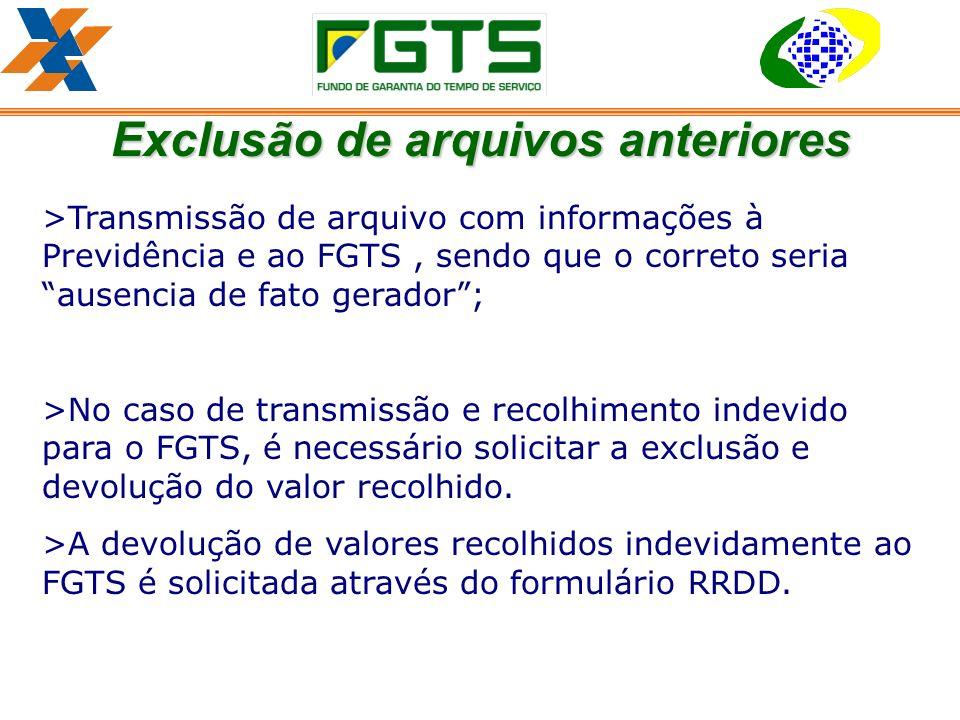 >Transmissão de arquivo com informações à Previdência e ao FGTS, sendo que o correto seria ausencia de fato gerador; >No caso de transmissão e recolhimento indevido para o FGTS, é necessário solicitar a exclusão e devolução do valor recolhido.