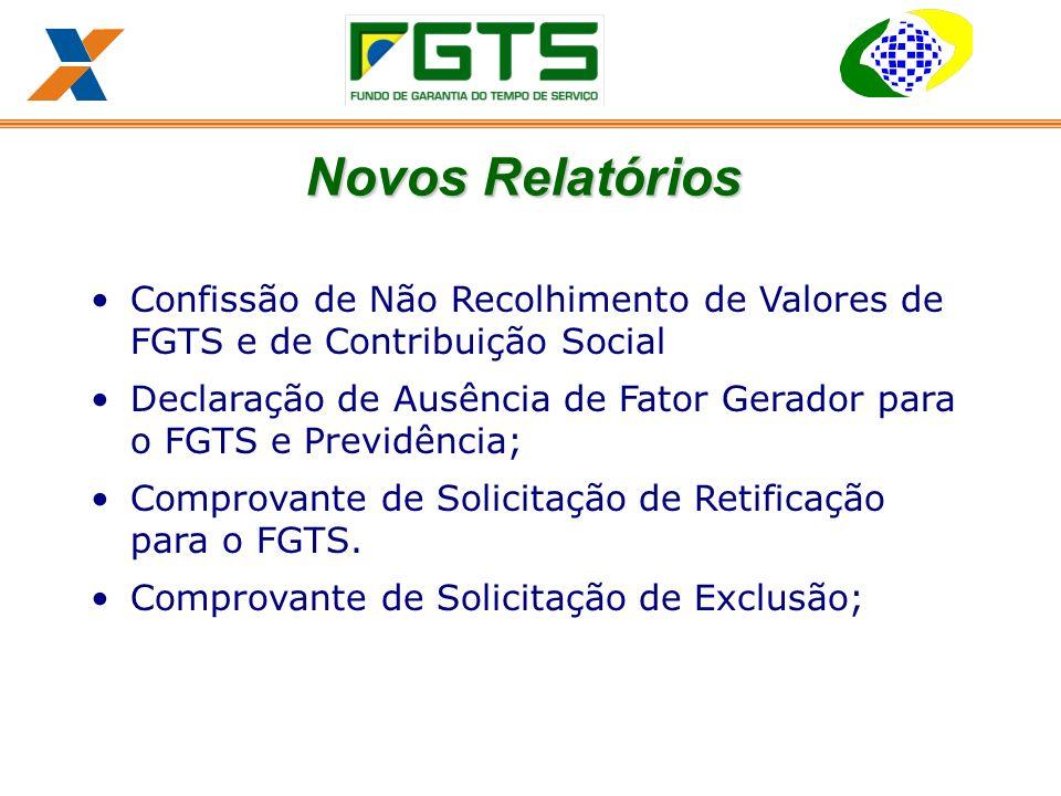 Confissão de Não Recolhimento de Valores de FGTS e de Contribuição Social Declaração de Ausência de Fator Gerador para o FGTS e Previdência; Comprovante de Solicitação de Retificação para o FGTS.