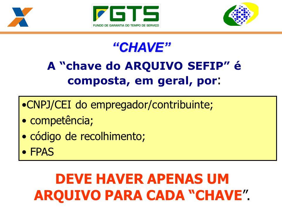 A chave do ARQUIVO SEFIP é composta, em geral, por : CNPJ/CEI do empregador/contribuinte; competência; código de recolhimento; FPAS DEVE HAVER APENAS UM ARQUIVO PARA CADA CHAVE.